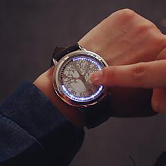 Férfi Karóra Egyedi kreatív Watch Digitális LED Érintőképernyő Bőr Zenekar Fekete Fekete Ezüst