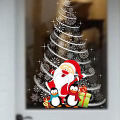 새로운 크리스마스 상점 창 유리 장식 벽 스티커 산타 클로스 크리스마스 트리 60 * 90cm