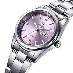 WWOOR Mulheres Relógio de Moda Quartzo Impermeável Aço Inoxidável Banda Pendente Casual Luxuoso Prata