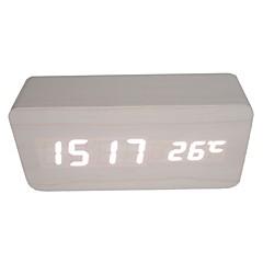 활성화 된 음성 및 터치 - raylinedo® 최신 디자인 패션 흰색 나무 흰색 빛 나무 디지털 알람 시계 - 시간 온도 날짜 표시를 주도