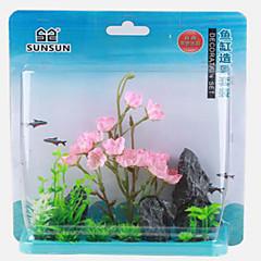 Decorațiune pentru Acvariu Culoarea Lemnului Floare Ne-Toxic & Fără Gust Plastic