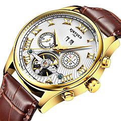 KINYUED Heren Dress horloge Skeleton horloge Modieus horloge Polshorloge mechanische horloges Automatisch opwindmechanismeKalender