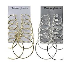 Mulheres Brincos em Argola Jóias Básico Multi-maneiras Wear Clássico bijuterias Liga Forma Redonda Jóias Para Casamento Festa Ocasião