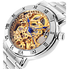 Női Szkeleton óra Divatos óra mechanikus Watch Automatikus önfelhúzós Vízálló ötvözet Zenekar Ezüst Pink