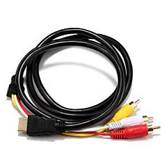 HDMI 1.4 Adaptör Kablosu, HDMI 1.4 to 3RCA Adaptör Kablosu Erkek - Erkek 1.5M (5 ft)