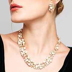 Dame Smykke Sæt Dråbeøreringe Perlehalskæde Mode Europæisk Brude Elegant kostume smykker Perle Rhinsten Legering Cirkelformet Halskæder