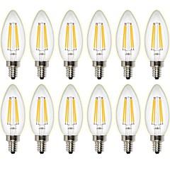 4W Lâmpadas de Filamento de LED C35 4 COB 400 lm Branco Quente Regulável Decorativa AC 220-240 AC 110-130 V 12 Pças.