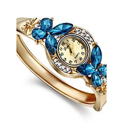 아가씨들 패션 시계 팔찌 시계 모조 다이아몬드 석영 합금 밴드 뱅글 우아한 골드