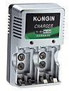 Kongin Chargeur pour batteries Ni-Mh Ni-Cd AA AAA Batterie 9v