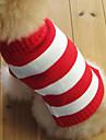 Gatos / Cães Súeters Vermelho Roupas para Cães Inverno Riscas Da Moda / Natal