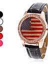 여자의 미국 국기 디자인 PU 아날로그 석영 손목 시계 (분류 된 색깔)