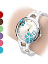Женские Модные часы Часы-браслет Кварцевый Группа Цветы Кольцеобразный Серебристый металл