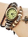 Quartz style bande de cuir bracelet de montre de la Couronne analogique de femmes (Brown Band)