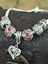 1PCS Fashion National Wind  Carved Beads Silver Heart Bracelet
