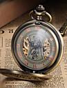 남성용 회중 시계 기계식 시계 메카니컬 메뉴얼-윈딩 중공 판화 합금 밴드 빈티지 럭셔리 브론즈