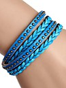 Non-Mainstream European And American Hand-Woven Copper Rivet Punk Multi-turn Winding Leather Bracelet (Multicolor)