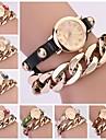 Les femmes vintage bandoulière chaîne en métal Bracelet en cuir Watch (couleurs assorties)