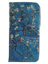 design de flor do abrico pu caso da aleta couro para o iPhone 4 / 4s