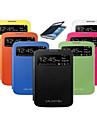 용 삼성 갤럭시 케이스 윈도우 / 자동 슬립/웨이크 기능 / 플립 케이스 풀 바디 케이스 단색 인조 가죽 Samsung S4