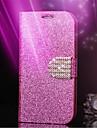 brilho couro diamante telefone celular caso slot para cartao de carteira de volta para casos 5c iphone