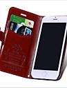 Для Кейс для iPhone 6 / Кейс для iPhone 6 Plus Бумажник для карт / со стендом / Флип Кейс для Чехол Кейс для Один цвет ТвердыйНатуральная