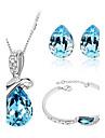 Jewelry Set Elegant Crysta Water Drop Pendant Necklace Earring Bracelet Gift