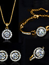 Femme bijoux de fantaisie Cristal Colliers decoratifs Boucles d\'oreille Anneaux Bracelet Pour Mariage Soiree Anniversaire Fiancailles