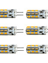 6pcs Dimmable G4 1.5W 24SMD 2835 100-150LM 3000K/6000K Warm White/Cool White Light LED Corn Bulb(DC12V)
