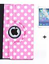 360 graus pontos redondos pu caso capa de couro da aleta para ipad de ar 2 (cores sortidas) + protetor de tela caneta stylus filme