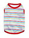 Chat Chien Tee-shirt Rouge Orange Vert Bleu Noir Blanc Vetements pour Chien Ete Rayure Mode