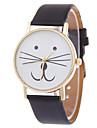 여성용 패션 시계 팔찌 시계 석영 고양이 PU 밴드 만화 블랙 화이트 블루 레드 브라운 핑크