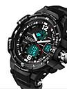 남성용 스포츠 시계 밀리터리 시계 패션 시계 디지털 LCD 달력 크로노그래프 듀얼 타임 존 야광 실리콘 밴드 럭셔리 블랙