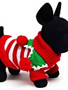 Cat Dog Sweater Dog Clothes Winter Spring/Fall Stripe Holiday Keep Warm Christmas White Red Green