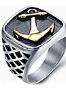 Men\'s Fashion Vintage Rock Style 316L Titanium Steel Anchor Personality Engraved Jewelry Rings Casual/Daily 1pc