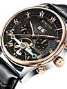 KINYUED Мужской Нарядные часы Часы со скелетом Наручные часы Механические часы Календарь Секундомер Защита от влаги С автоподзаводом Кожа