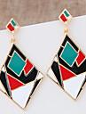 Brincos Compridos Joias da indicacao Moda Blocos de cor Europeu Liga Forma Geometrica Preto Arco-Iris Joias Para 1 par