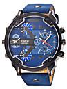 Мужской Спортивные часы Армейские часы Модные часы Наручные часы Кварцевый Календарь С двумя часовыми поясами Панк Крупный циферблат Кожа
