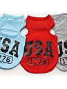 강아지 티셔츠 조끼 강아지 의류 캐쥬얼/데일리 문자와 숫자 그레이 레드 블루