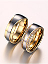 Women\'s Couple Rings AAA Cubic Zirconia Imitation Diamond Love Bridal Zircon Titanium Steel Gold Plated Love Jewelry For Wedding