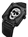 남성용 패션 시계 독특한 창조적 인 시계 손목 시계 석영 가죽 밴드 스컬 블랙 브라운