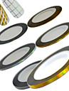 6rolls / set 20m / roll смешанный 1mm2mm3mm новое золото способа лазерное&Серебряный Nail Art полоса ленты линии наклейки Nail Art