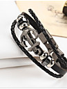 Men\'s Women\'s Leather Bracelet Vintage Leather Geometric Jewelry For Gift