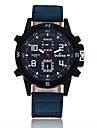 Муж. Спортивные часы Кварцевый Крупный циферблат Кожа Группа Cool Черный Синий Коричневый Зеленый Фиолетовый Хаки