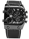 V6 남성용 스포츠 시계 패션 시계 손목 시계 중국어 석영 스톱워치 큰 다이얼 가죽 밴드 멋진 캐쥬얼 블랙