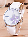 남성용 여성용 패션 시계 손목 시계 독특한 창조적 인 시계 중국어 석영 PU 밴드 꽃패턴 블랙 화이트 레드 브라운