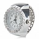 abordables Relojes de Mujer-Mujer Reloj de Anillo Japonés Cuarzo Plata Reloj Casual Analógico damas Destello Moda