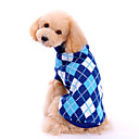 cheap Dog Clothing & Accessories-Dog Sweater Dog Clothes Plaid / Check Blue Woolen Costume For Pets Men's / Women's Classic / Fashion