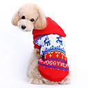 hesapli Köpek Giyim ve Aksesuarları-Kedi Köpek Kazaklar Kapüşonlu Giyecekler Köpek Giyimi Ren Geyiği Kırmzı Yün Kostüm Evcil hayvanlar için Erkek Kadın's Sevimli Noel