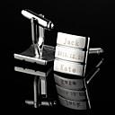 preiswerte Maßgeschneiderte Mode und Fashion-Accessoires-Personalisierte Geschenke Rectangle Fringe-Muster-Silber Gravierte Manschettenknöpfe
