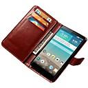 abordables Etuis / Coques pour LG-Coque Pour LG G3 / LG Coque LG Portefeuille / Porte Carte / Avec Support Coque Intégrale Couleur Pleine Dur faux cuir pour